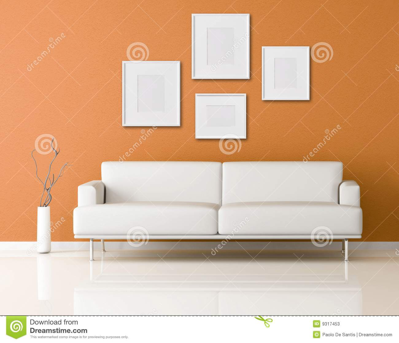 White Sofa In A Orange Living-room Stock Illustration - Illustration ...