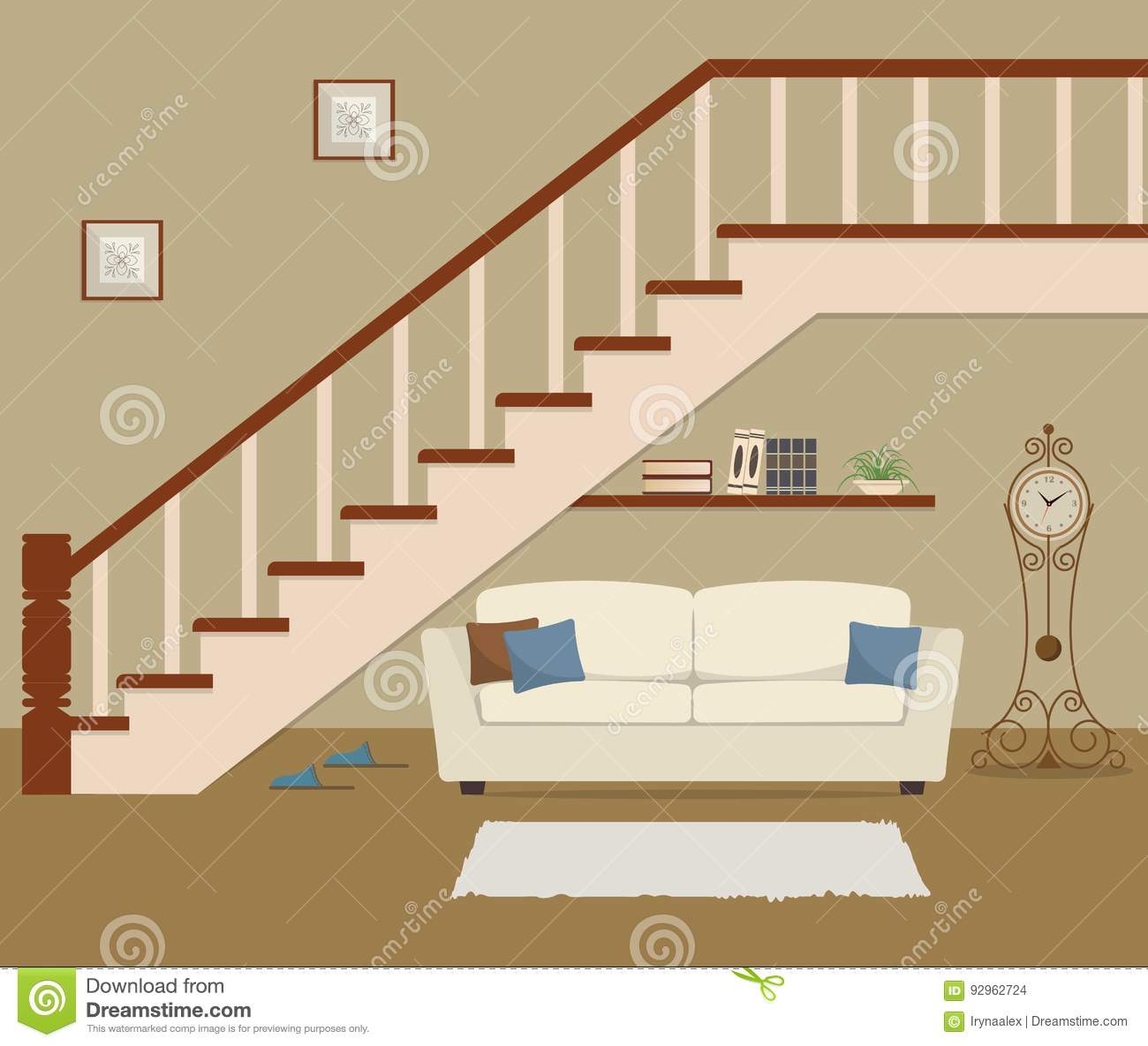 White Sofa With Pillows Located Under The Stairs Stock Vector