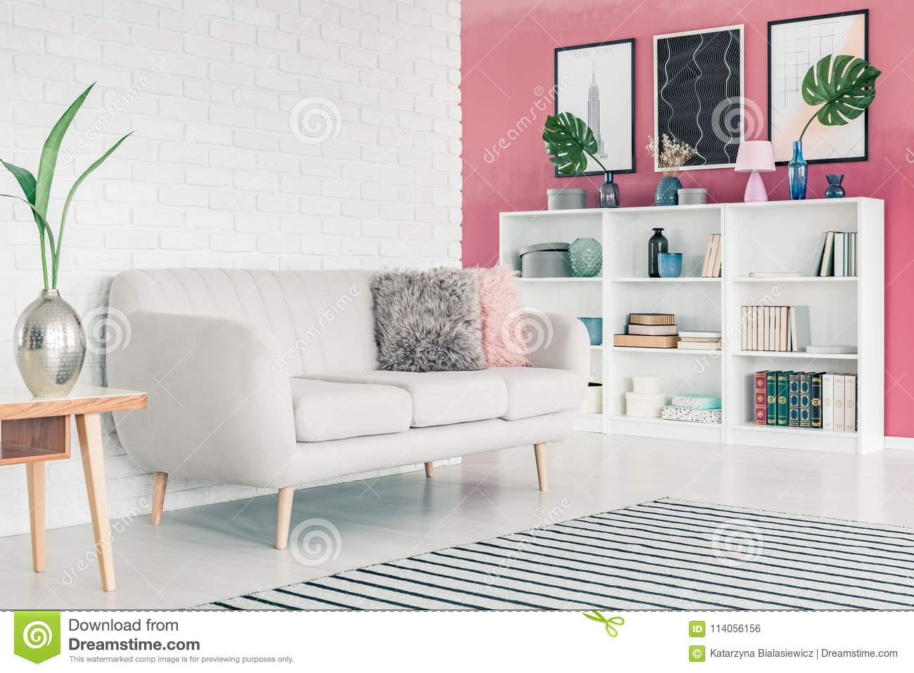 Prime Pink Living Room Stock Photo Image Of Couch Pillows Beatyapartments Chair Design Images Beatyapartmentscom