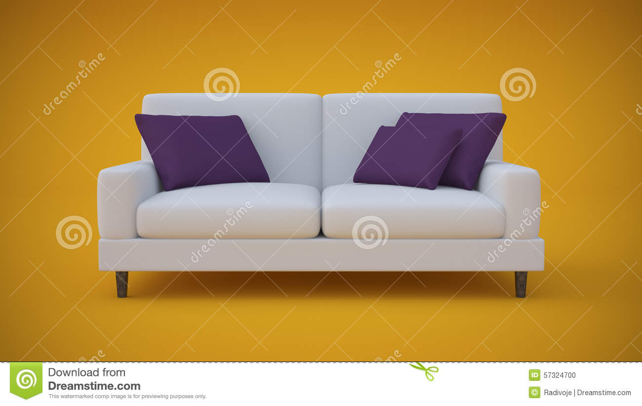 White Sofa With Purple Pillows In Yellow Studio Stock  : white sofa purple pillows yellow studio d render standing center there 57324700 from dreamstime.com size 1300 x 821 jpeg 68kB