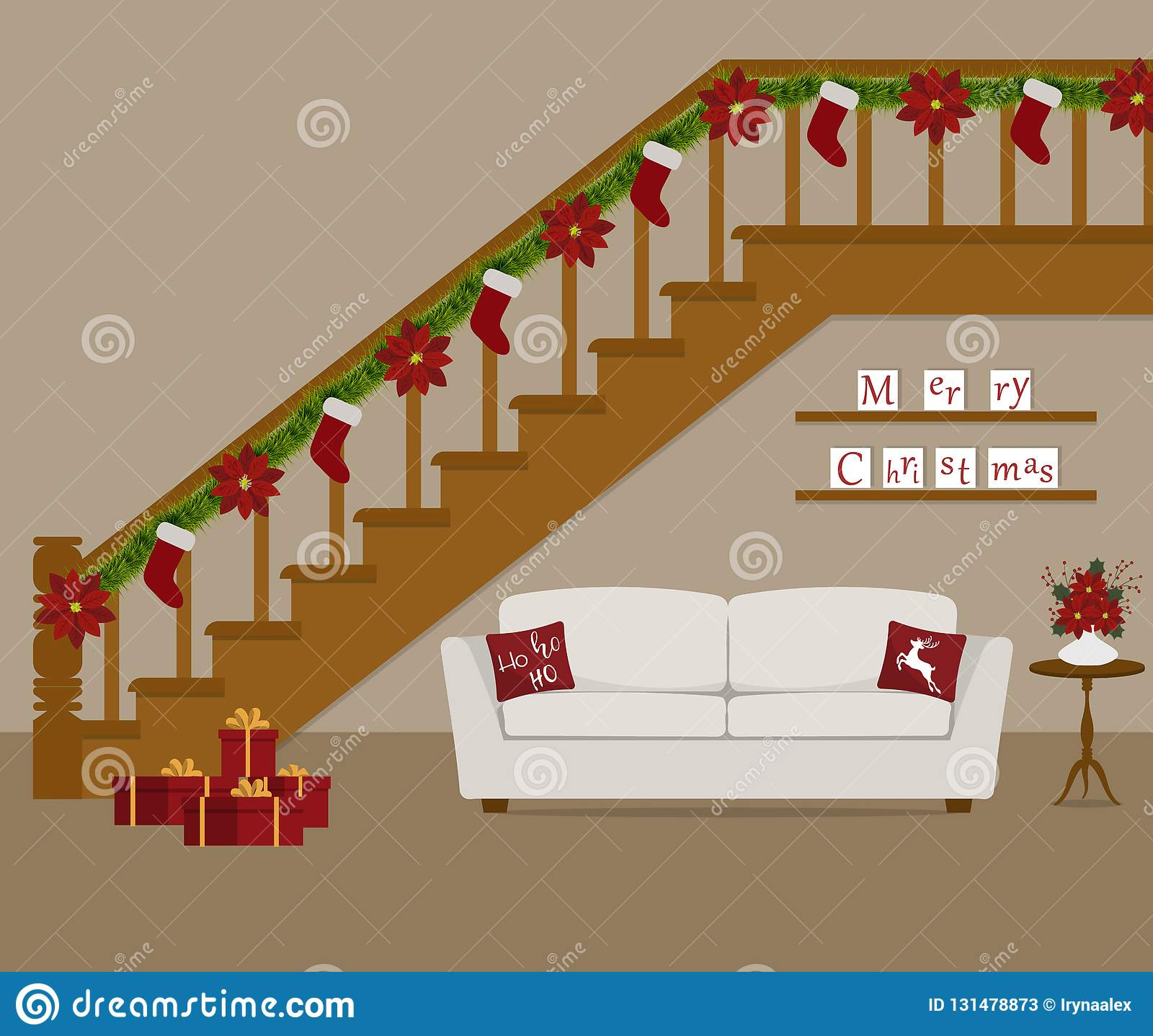 White Sofa With Red Pillows Located Under The Stairs Decorated