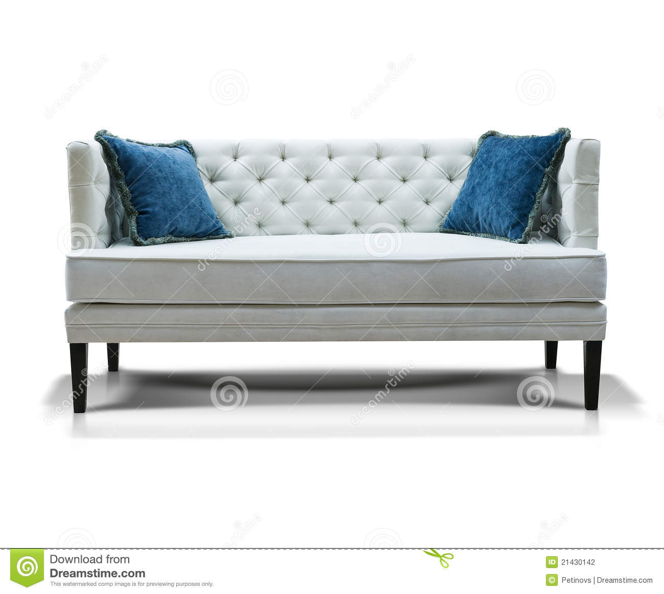 White Sofa With Two Blue Pillows Stock Photo Image 21430142