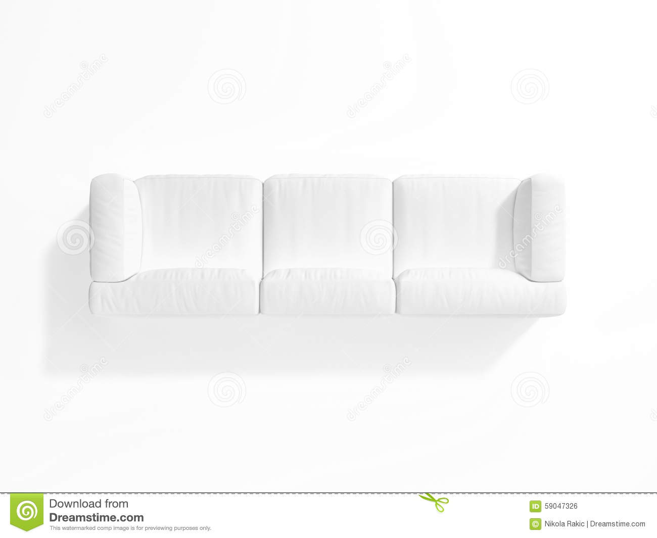 White Sofa On Background Top View Stock