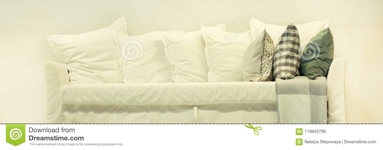 Superb White Sofa With White And Colored Pillows Against The White Squirreltailoven Fun Painted Chair Ideas Images Squirreltailovenorg
