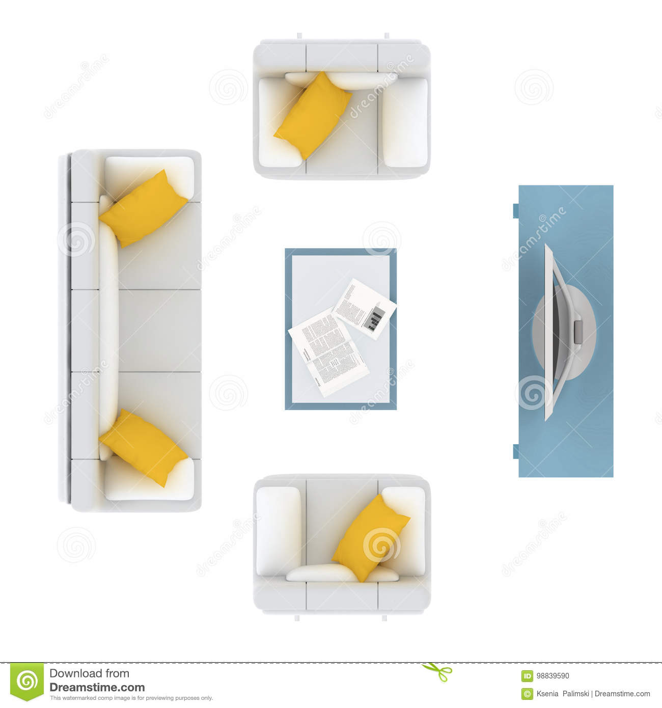 White Sofa With Yellow Cushion And Tv Set Plan Design Elements Stock Illustration - Illustration Of Coffee, Yellow: 98839590