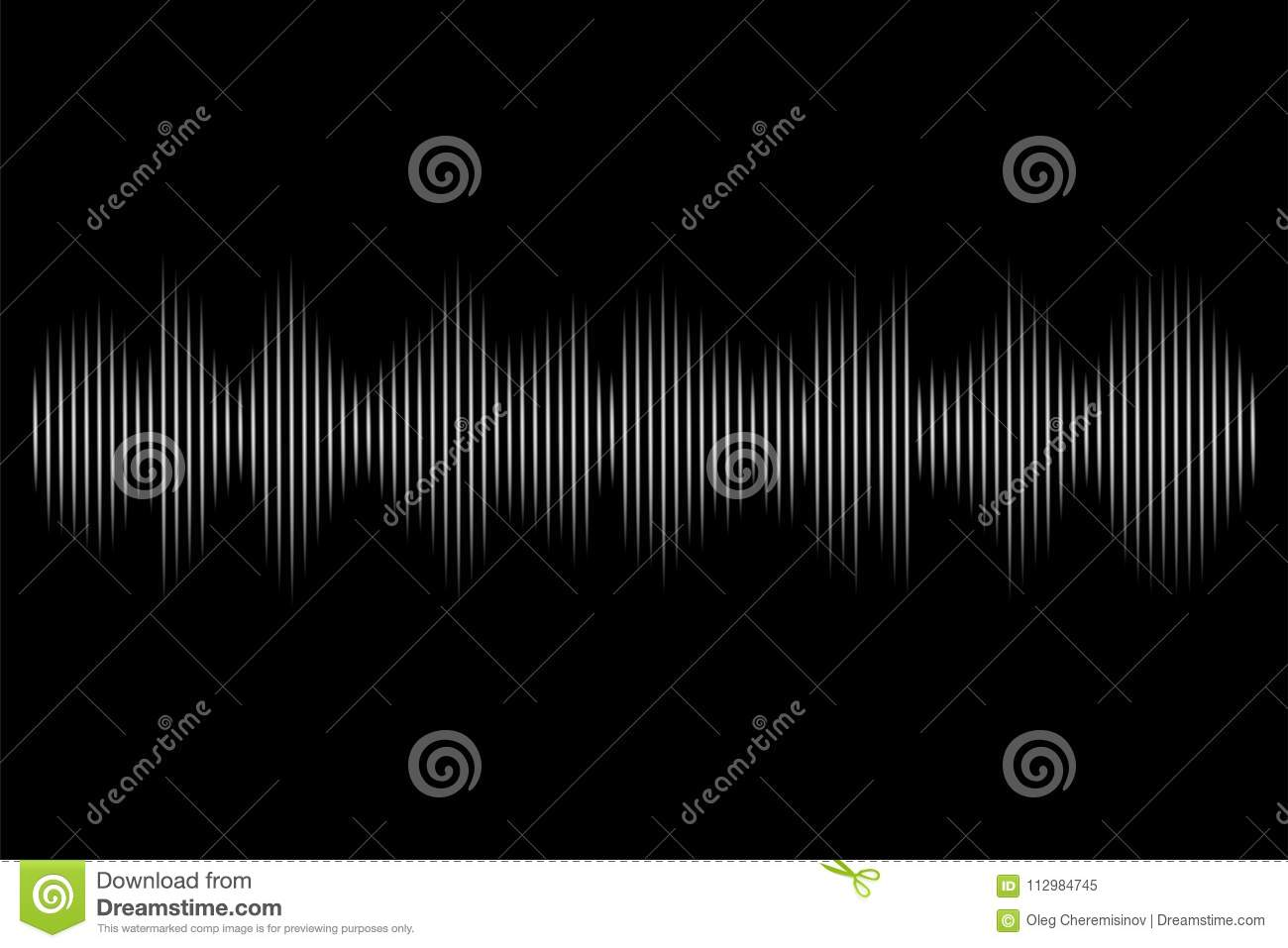 White sound wave on black background. Vector audio technology illustration.