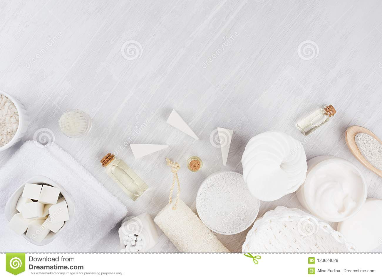 White Spa Cosmetics Products And Light Bath Accessories On White ...