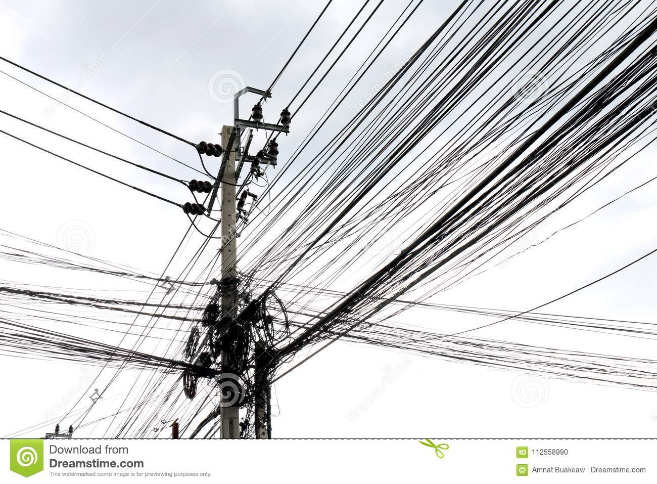 White Space Isolated Background Of Tangle Wire On Road, Wire In ...