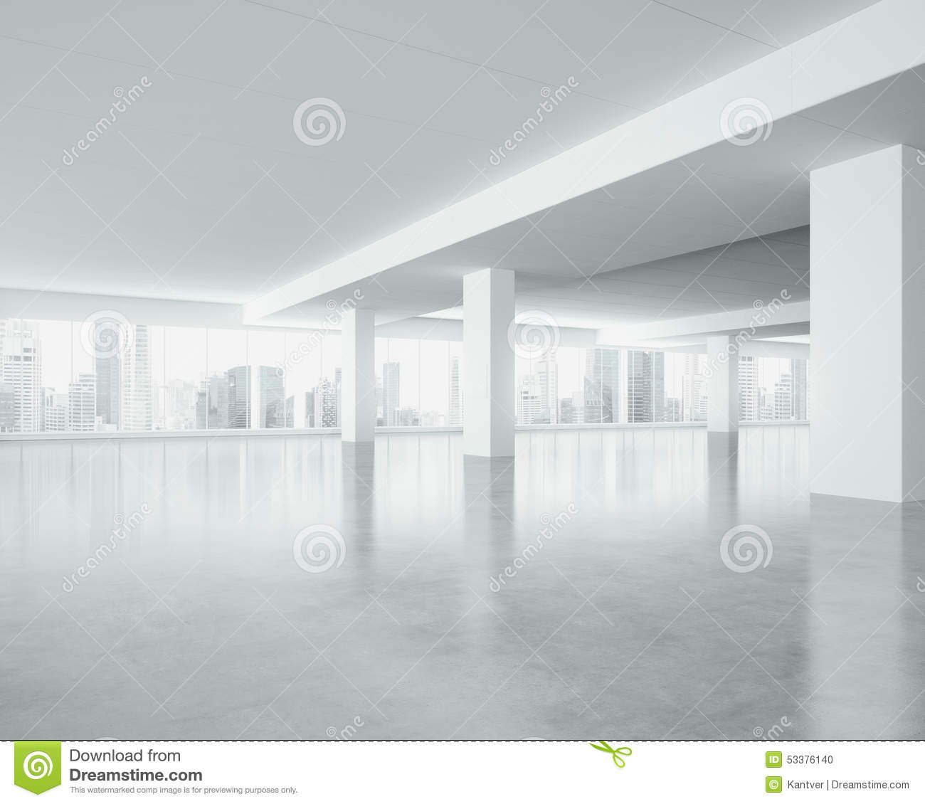 White Space Interior With Large Windows 3d Render Stock