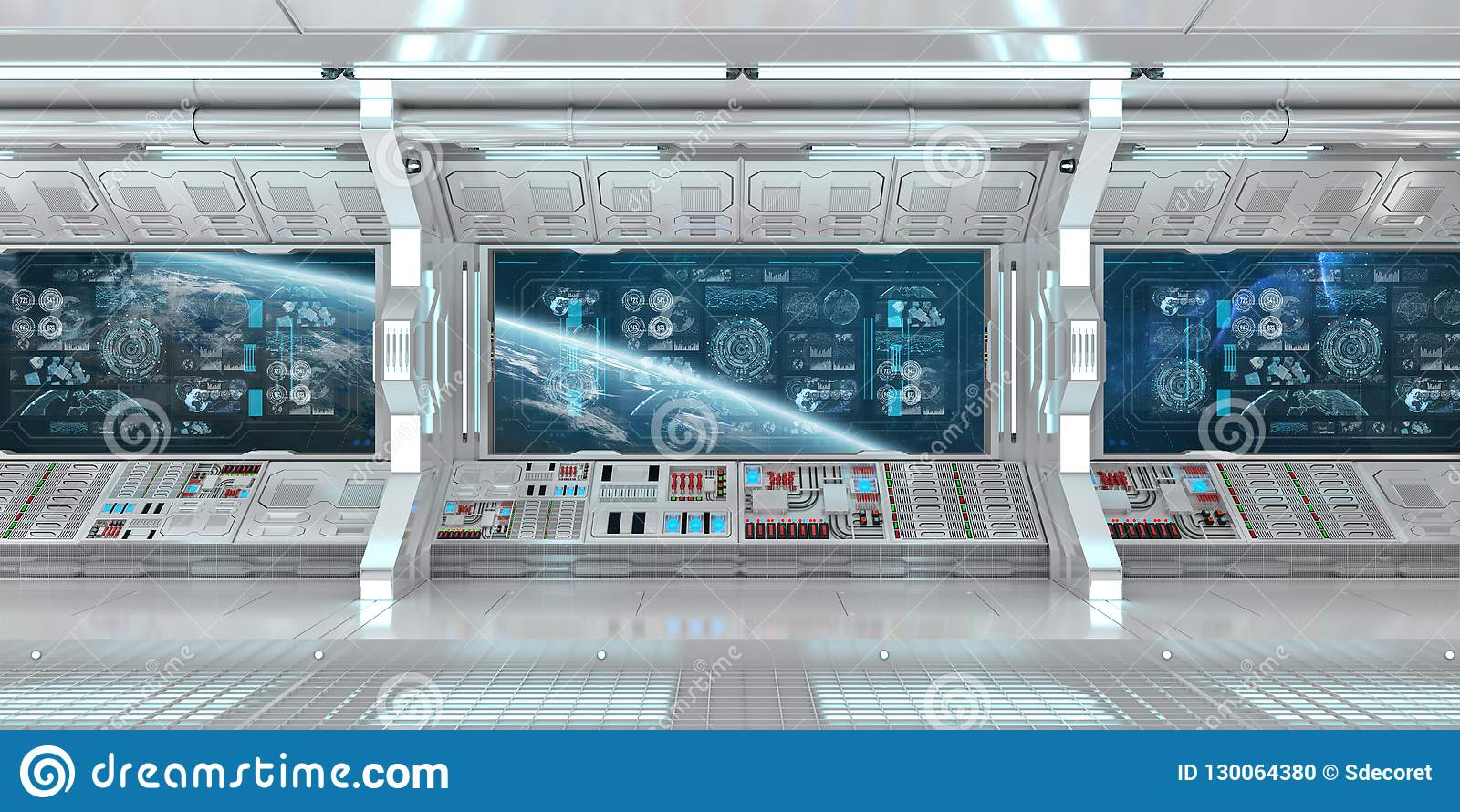 White spaceship interior with control panel digital screens 3D r
