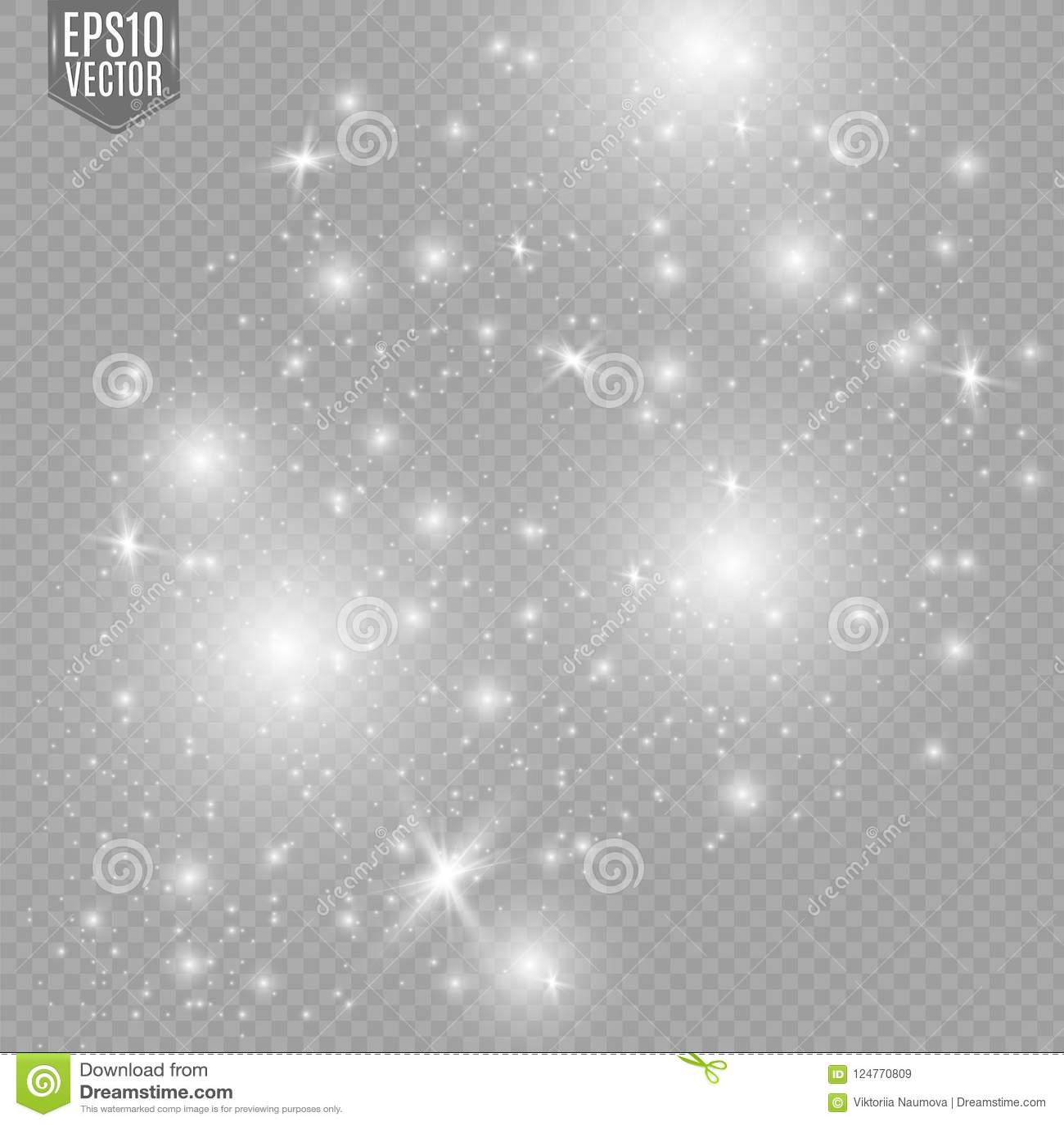 White Sparks Glitter Special Light Effect  Vector Sparkles On