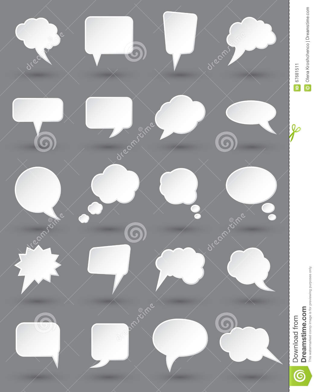 White speech bubbles set with shades on dark gray background.
