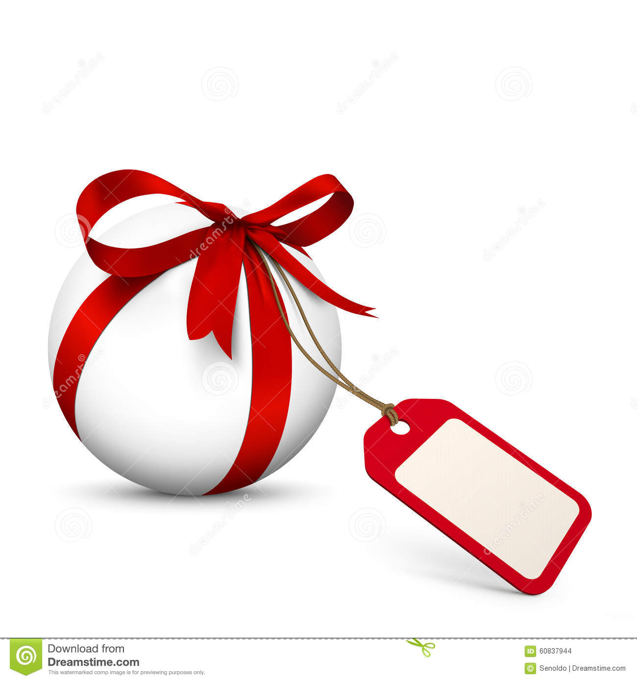White Sphere With Red Bow And Blank Gift Coupon Stock ...