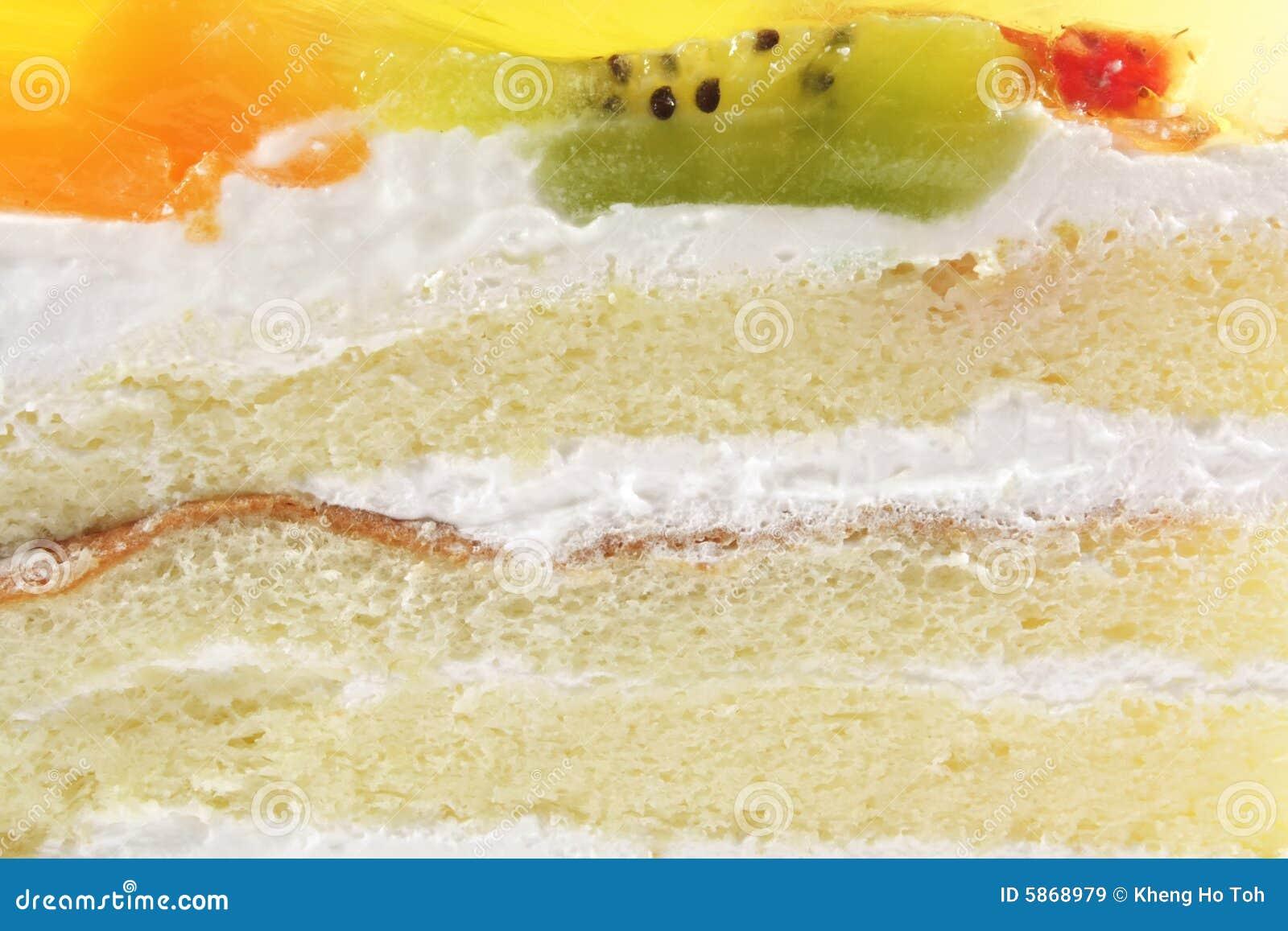 White Sponge Cream Cake With Gelatin Fruit Topping Stock Image