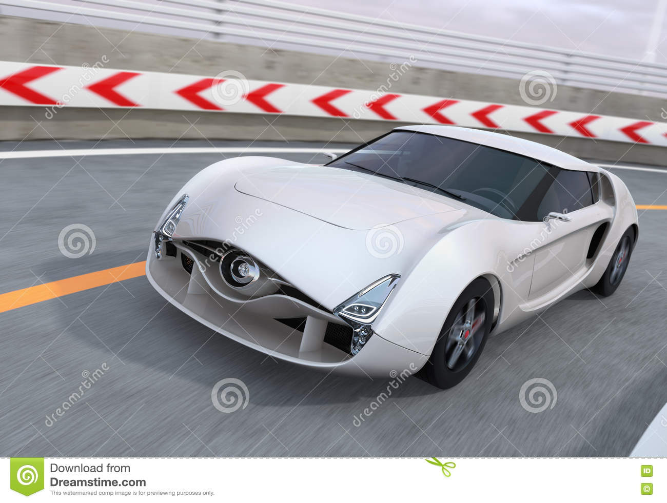 White sports car on highway