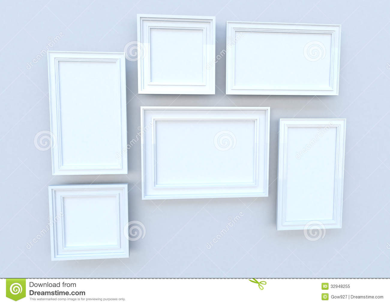 White sqaure frames on the wall 3d royalty free stock - White wall picture frames ...
