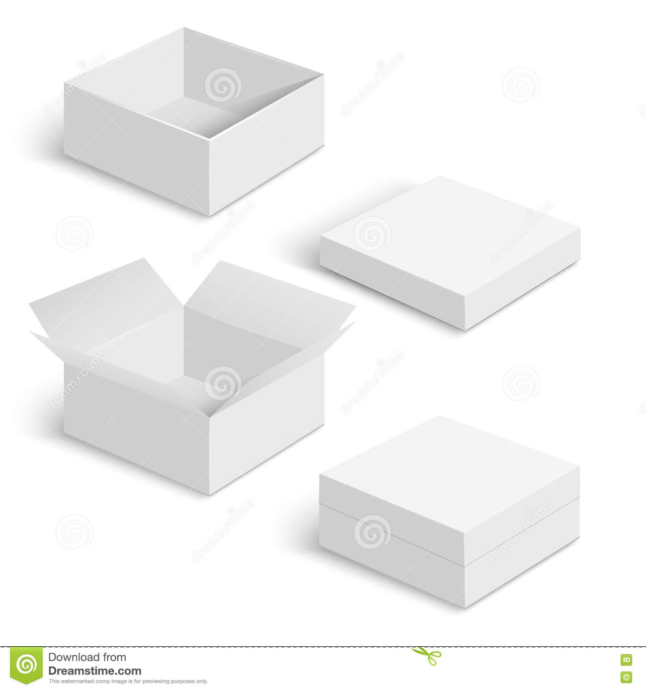 White Square Box Vector Templates Set Stock Vector Illustration Of