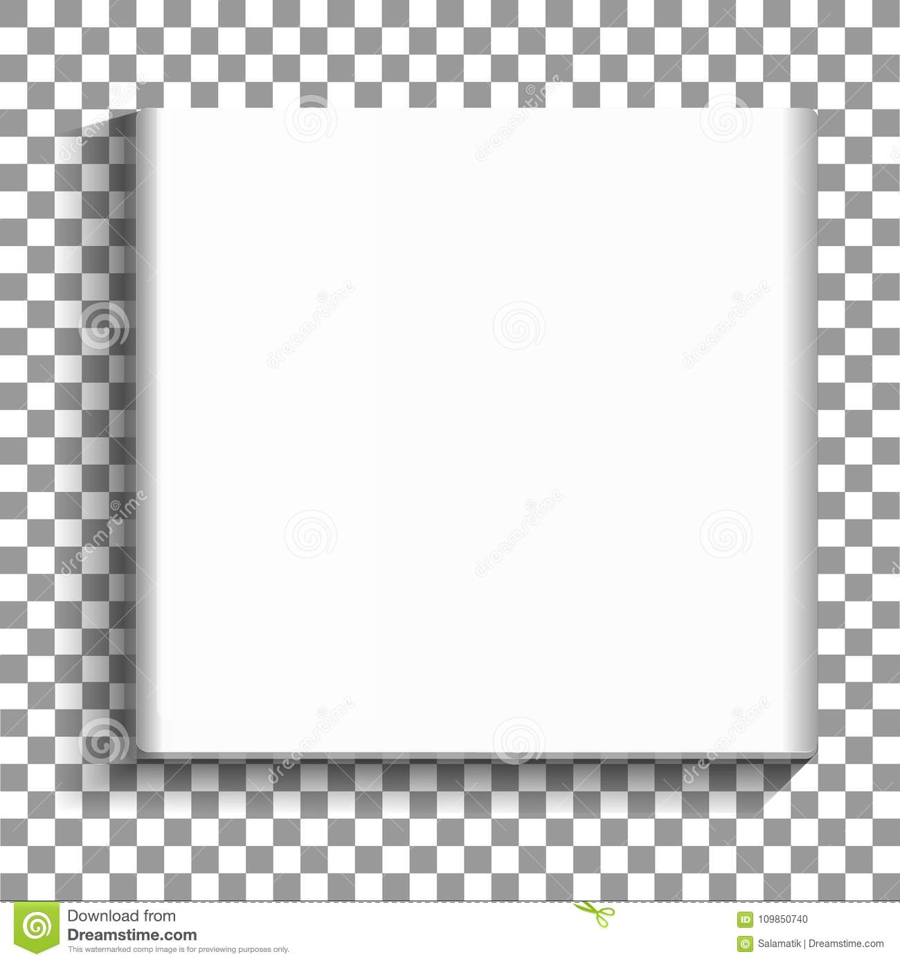 White Square Empty Picture Frame On Transparent Background. Blank ...