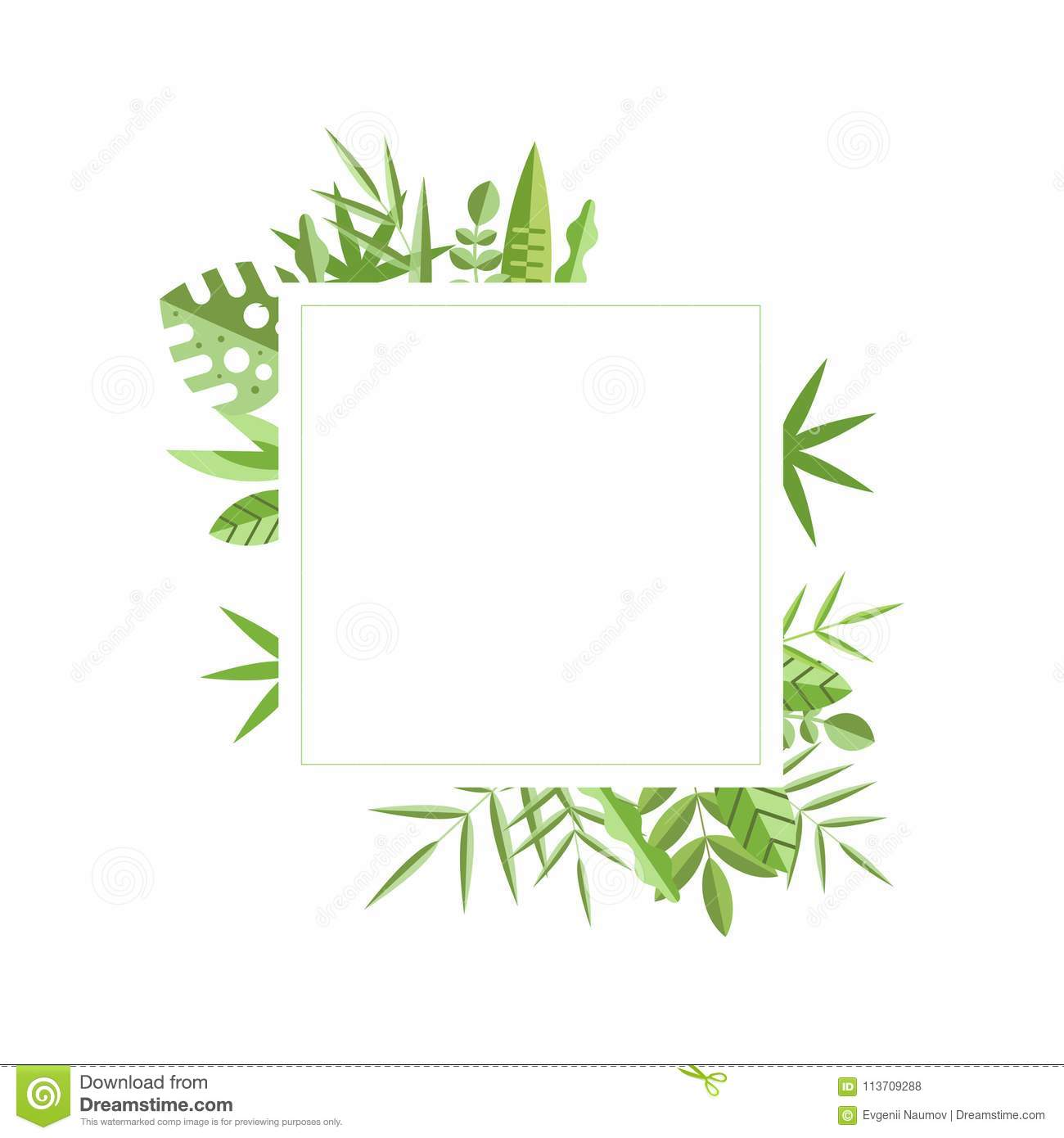 White Square Frame With Different Green Leaves On Background Natural Border Graphic Element For Wedding Invitation Save The Date Or Mobile Application