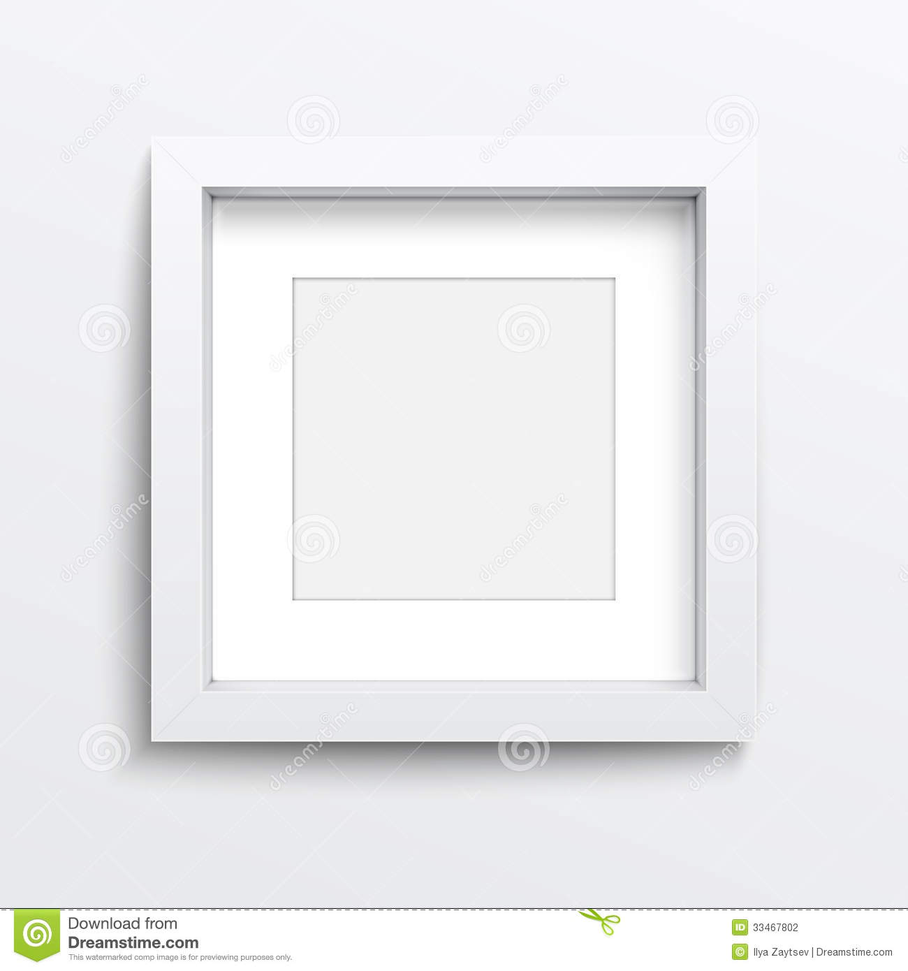 white square frame on gray wall illustration 33467802 megapixl - White Square Frames