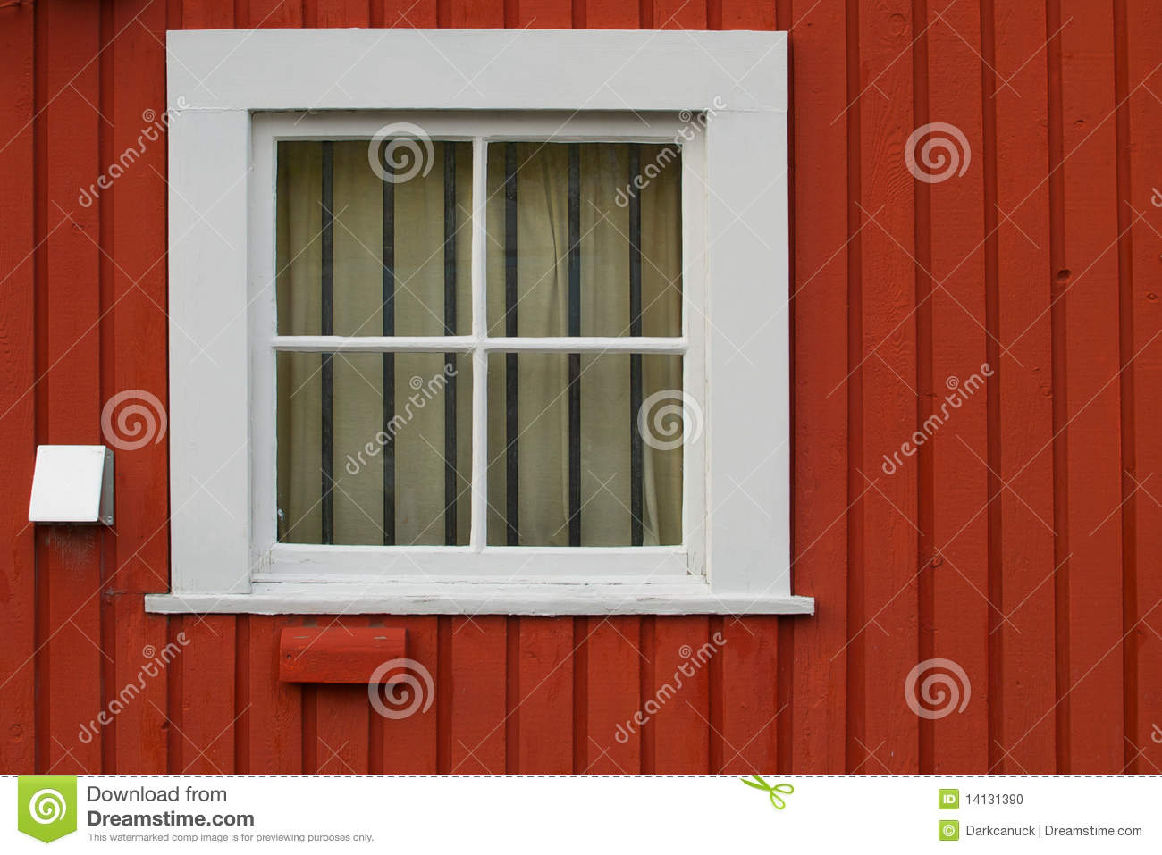 White Square Window Set In A Red Wooden Wall Stock Photo