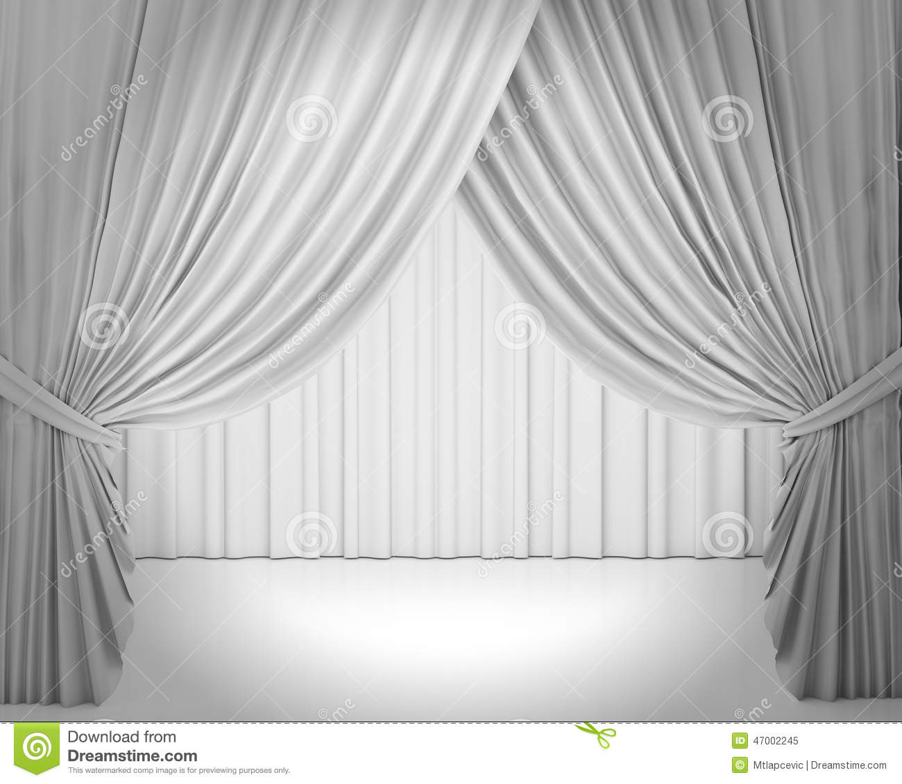 White Stage Curtain, Background Stock Illustration ...