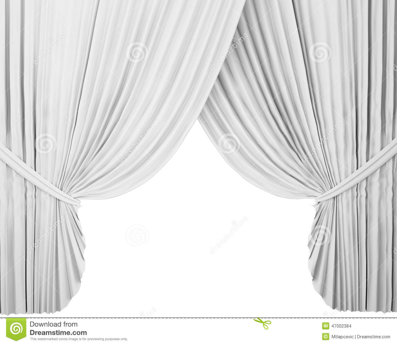 White Stage Curtain, Background Stock Illustration - Image ...
