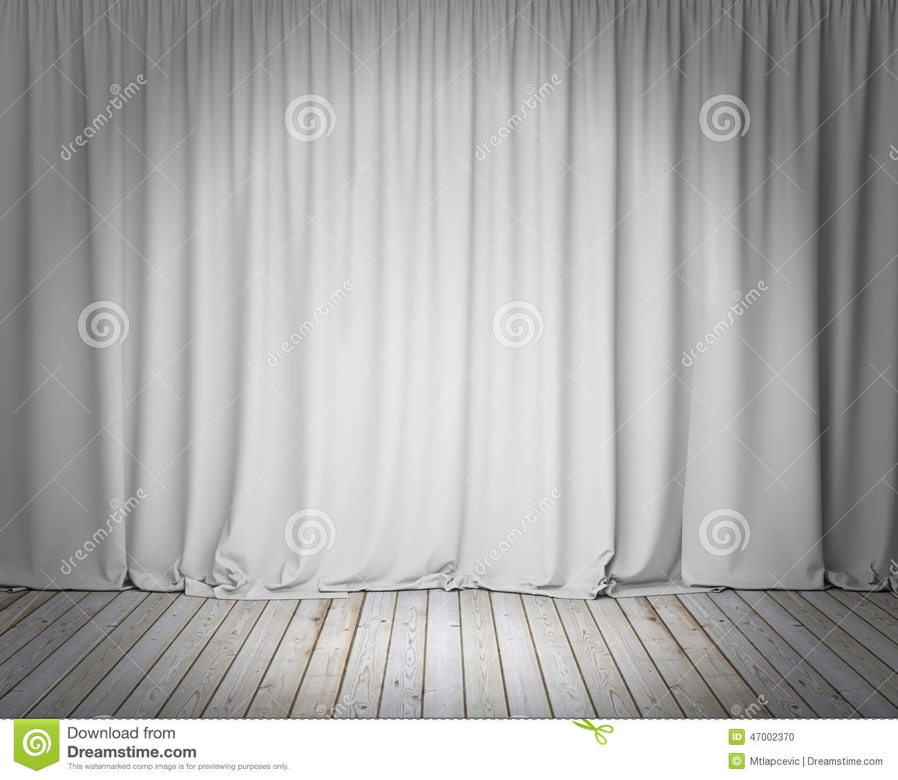 White Stage Curtain With Wooden Floor Background Stock