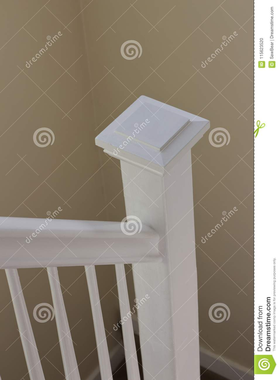 Download White Stair Bannister In Stairwell Stock Photo   Image Of Estate,  Neutral: 115623520