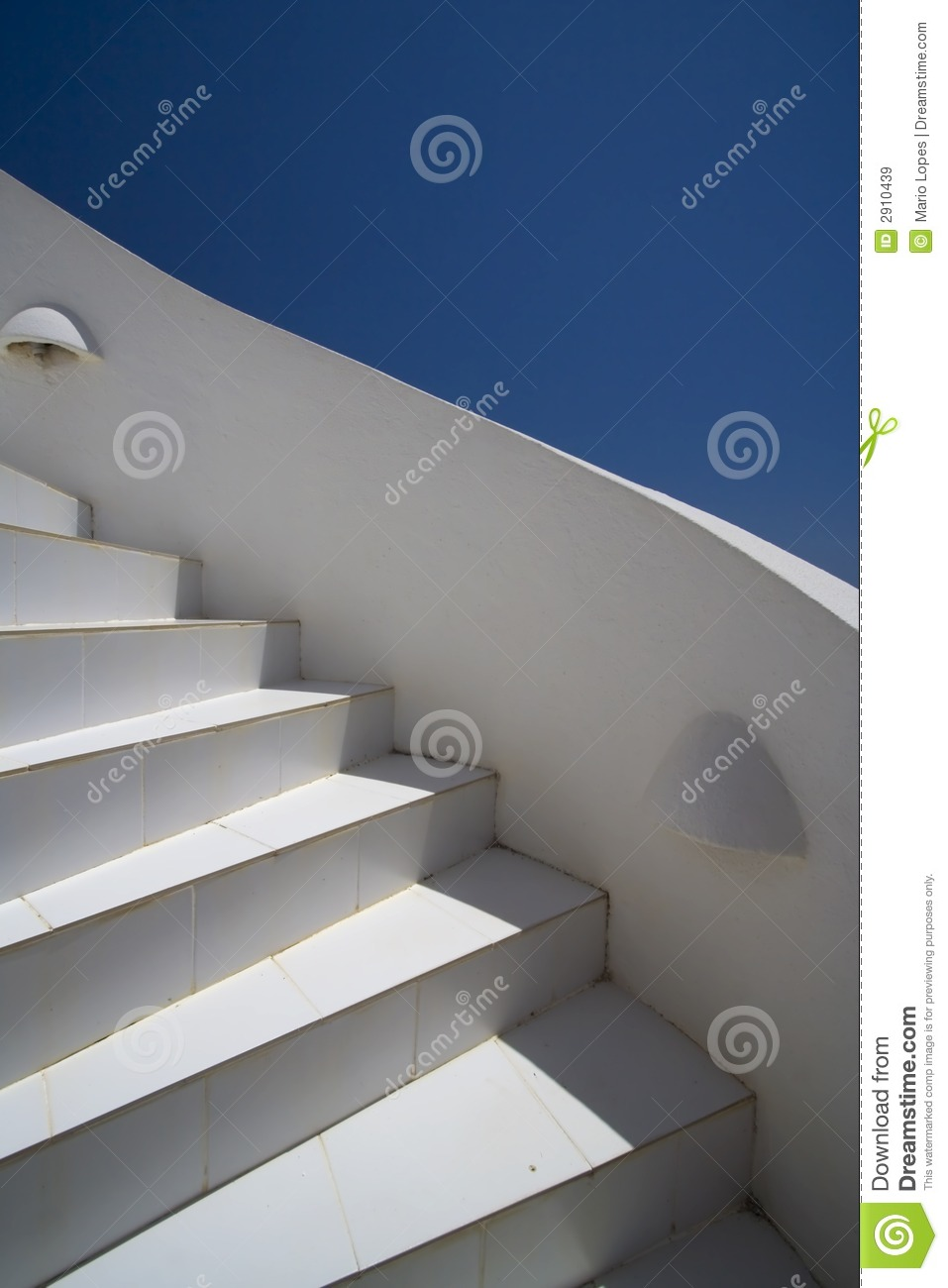 White stairs and blue sky