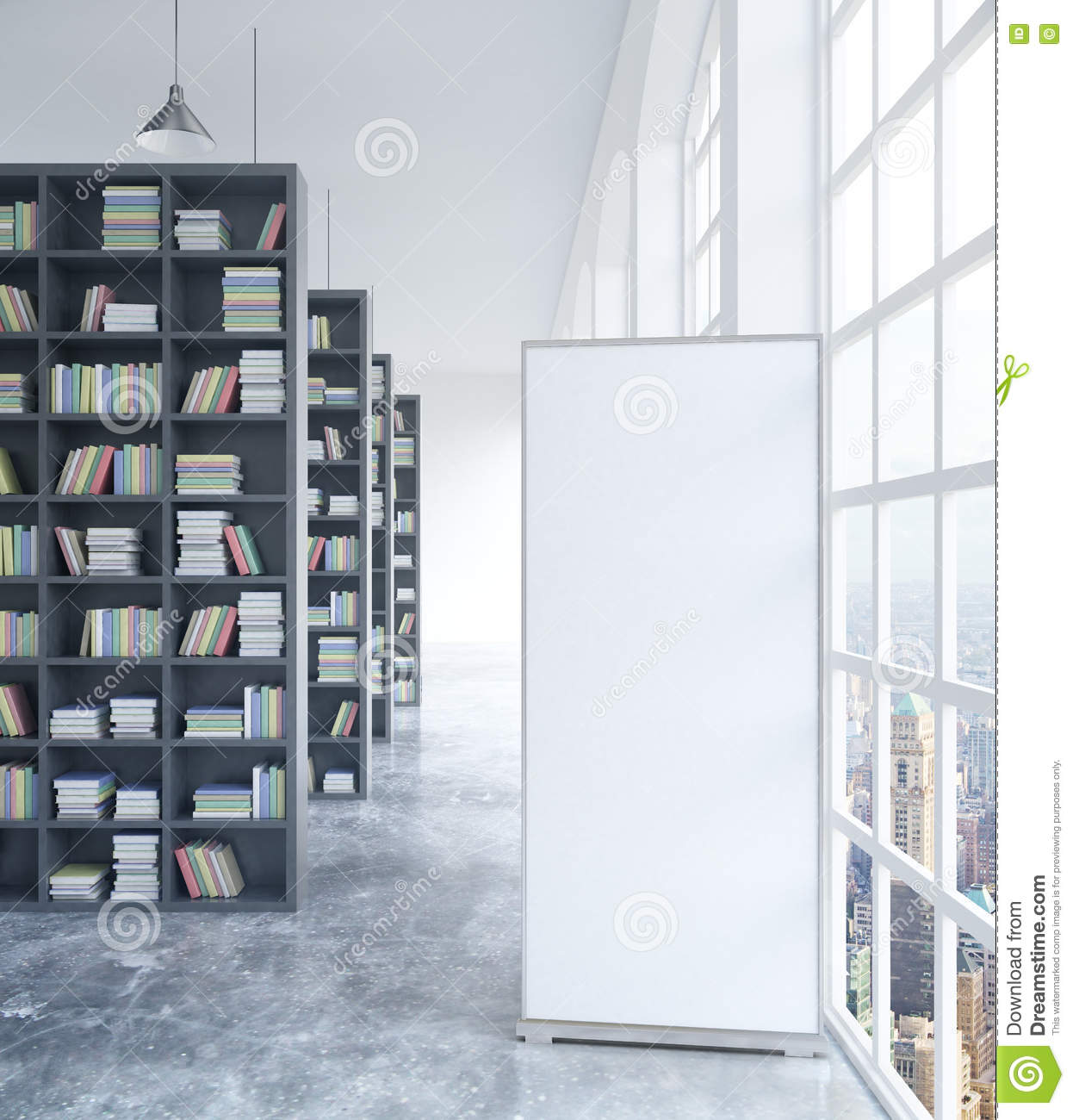 white stand in library stock illustration