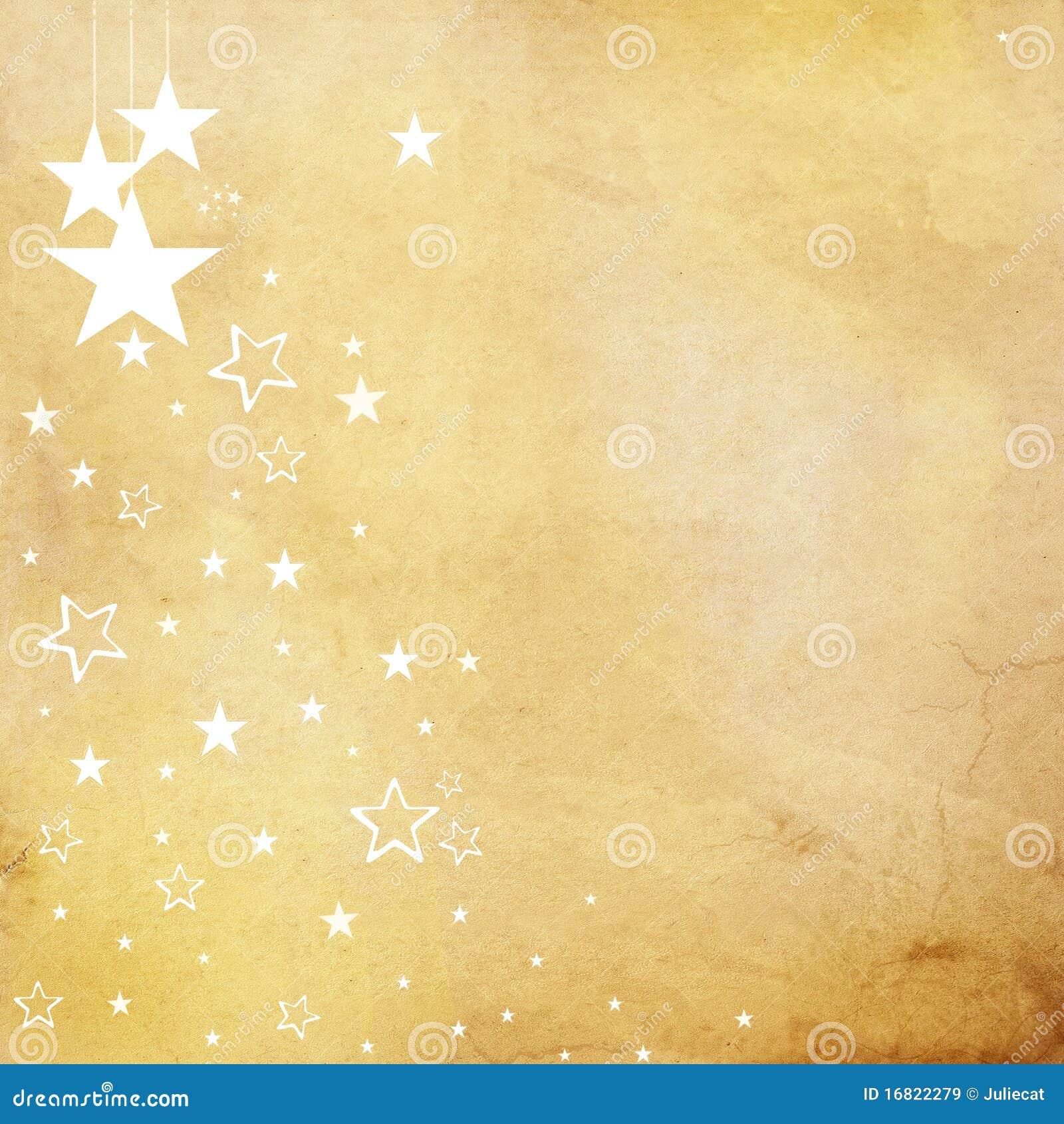 White Stars On Beige Paper Background Stock Illustration