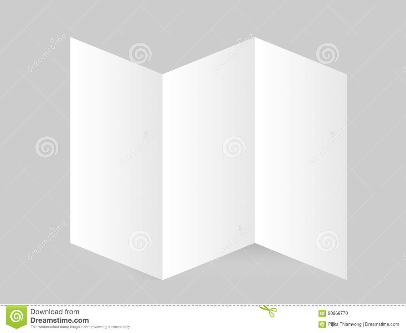white stationery  blank trifold paper brochure on gray