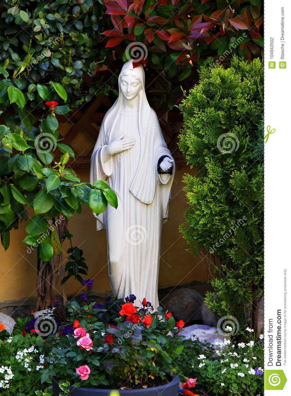 Download White Statue Of Mother Mary In The Garden Stock Photo   Image Of  Church,