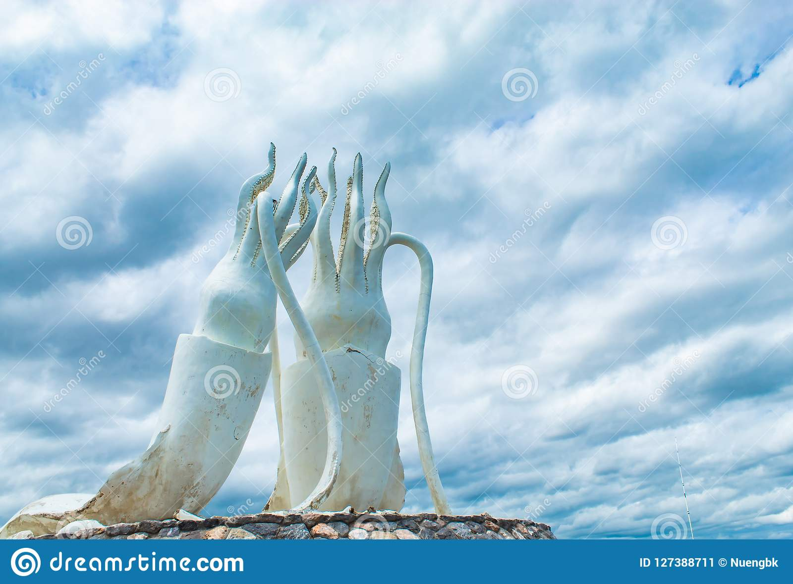 White Statue Squid And Sea At Cha Am Beach In Petchabur Stock Image
