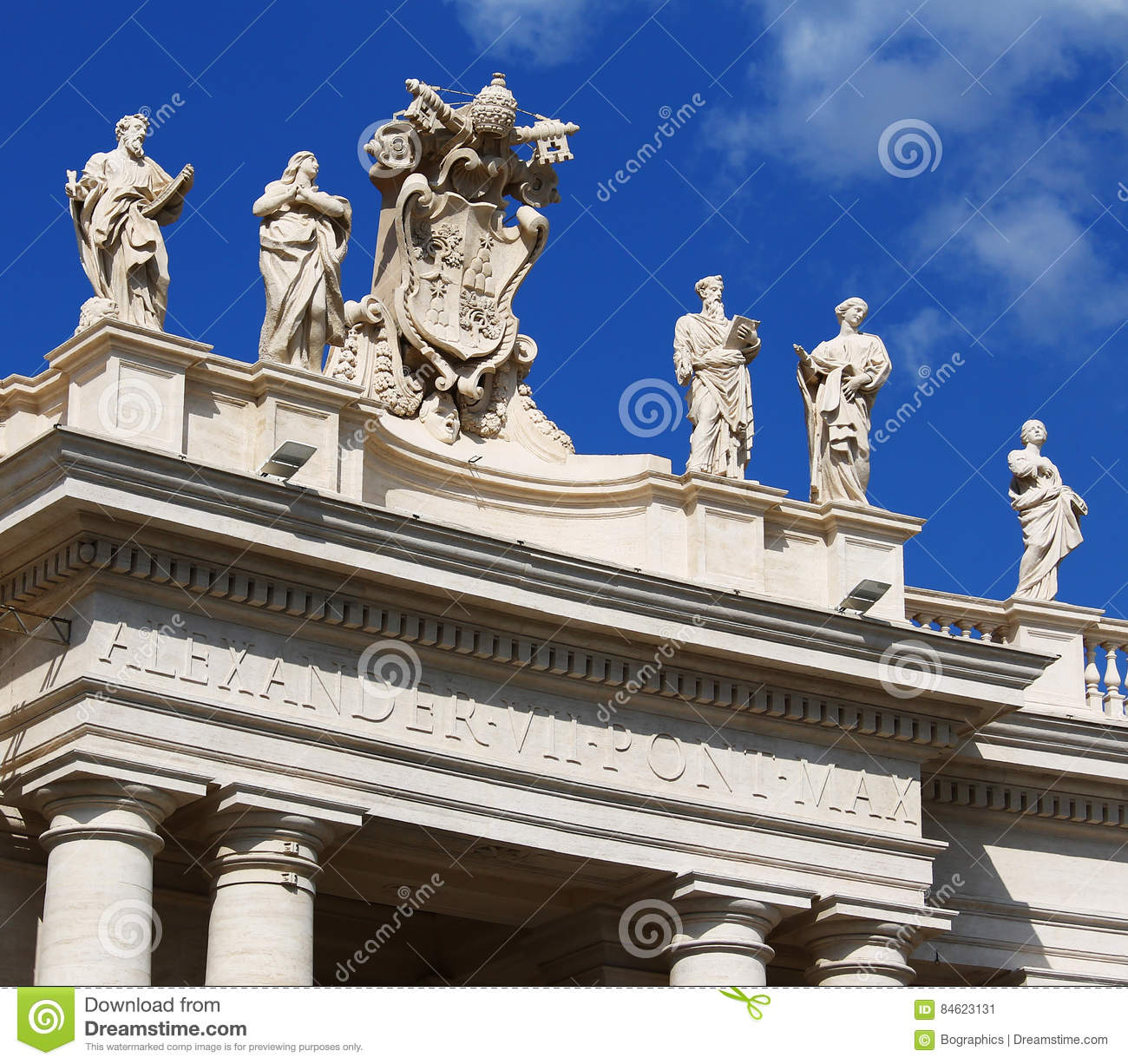 Photography Statue Monument Gothic Religion Sky Skies: White Statues On Top Of Vatican Building, Blue Sky Stock