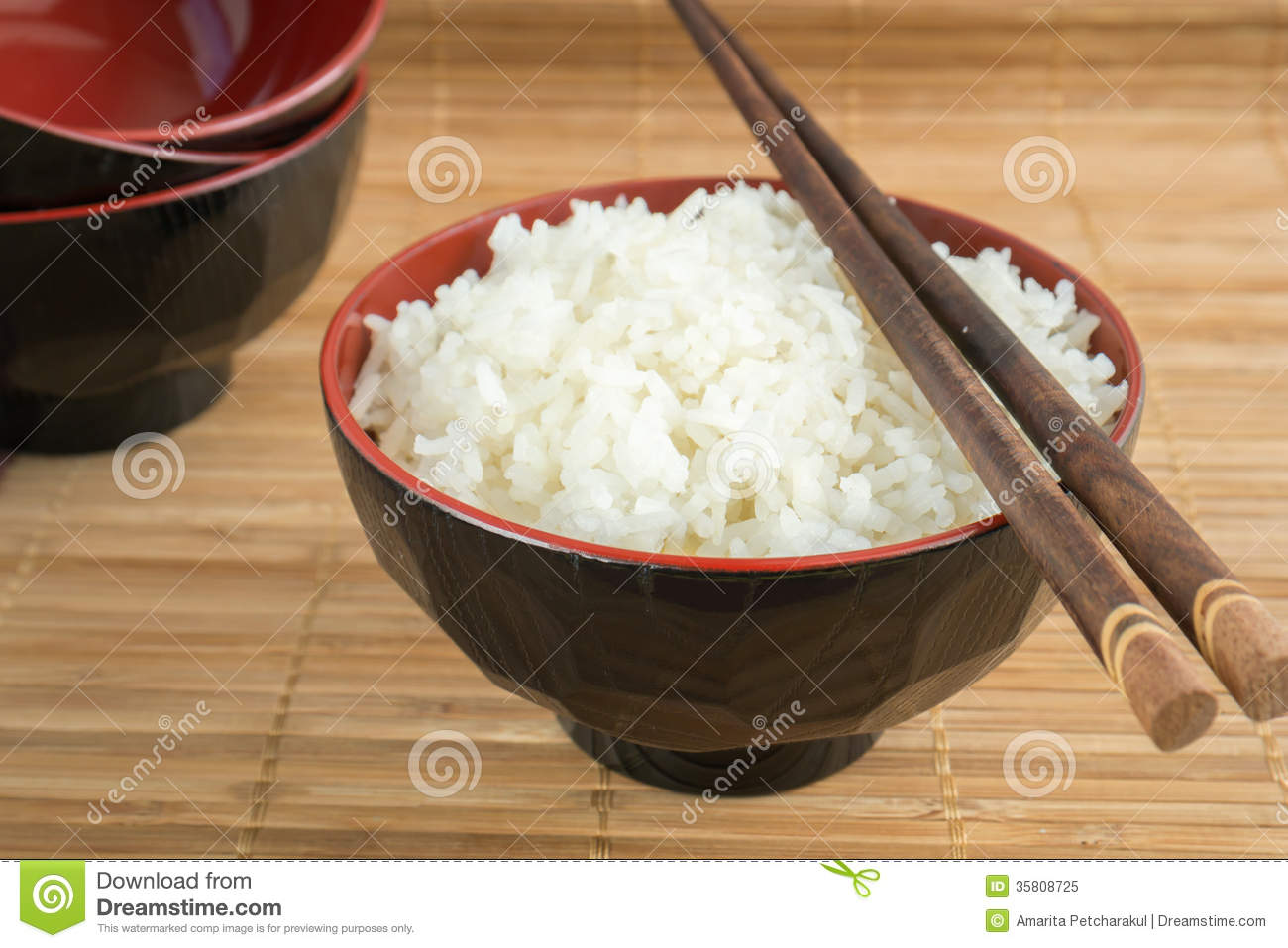 White Steamed Rice In A Bowl With Chopsticks Stock Image