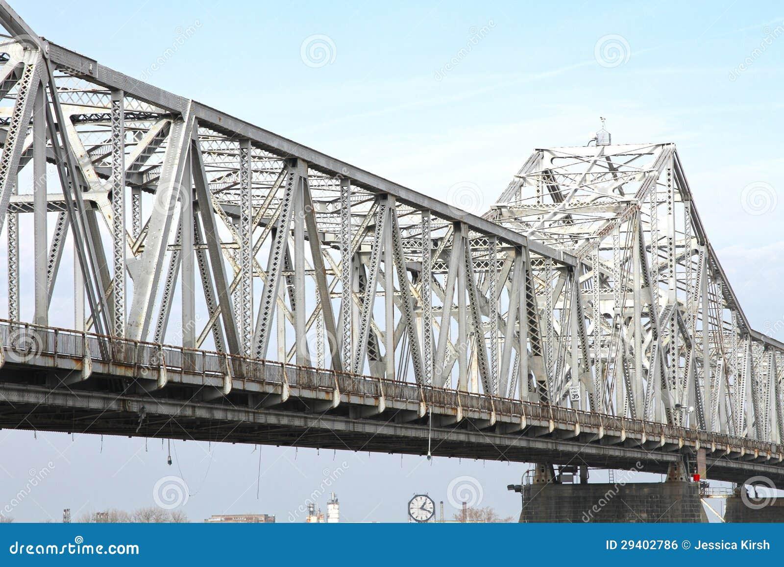 White, Steel Roadway River Bridge