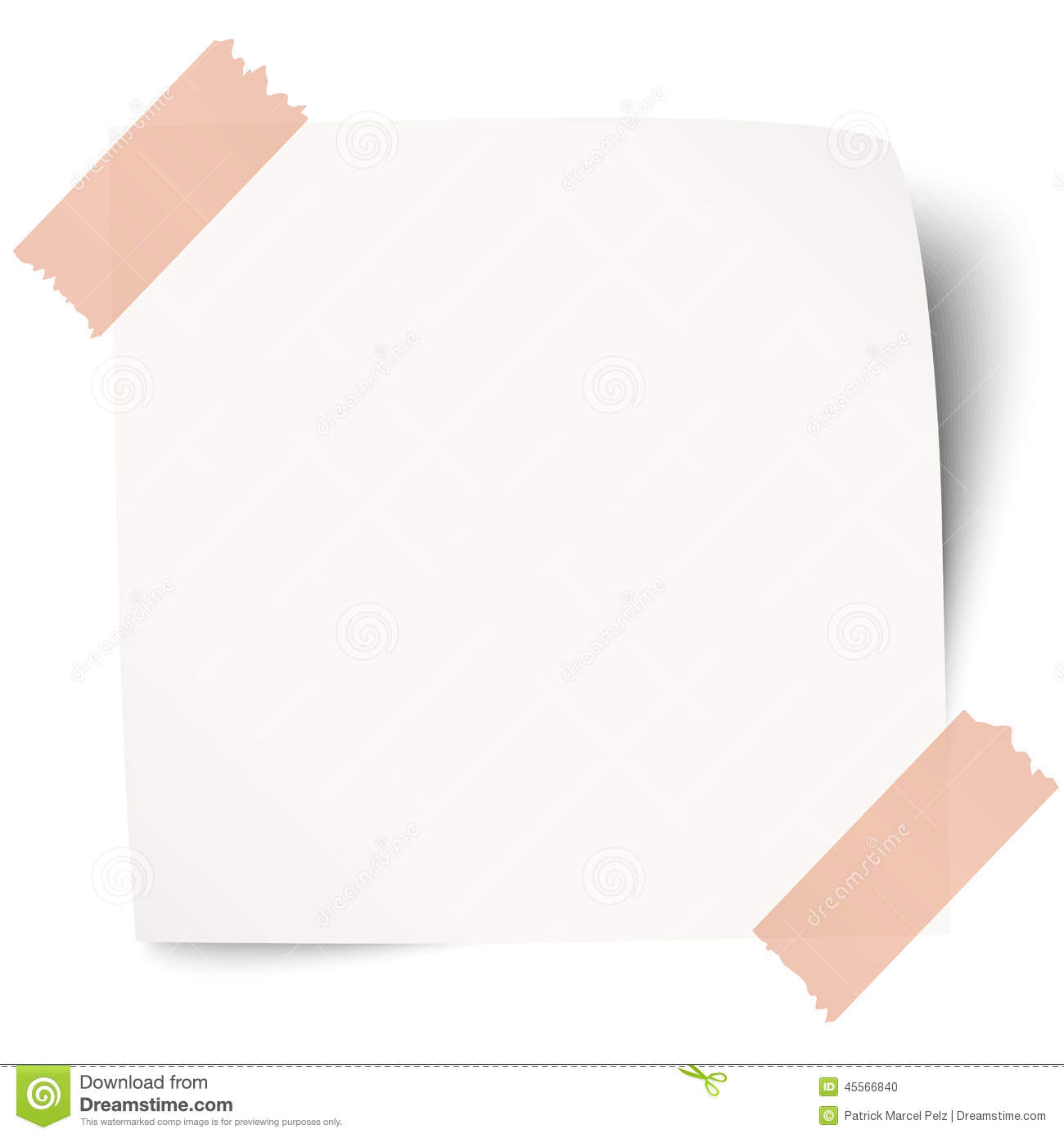 White Sticky Note With Adhesive Tape Stock Vector - Image: 45566840