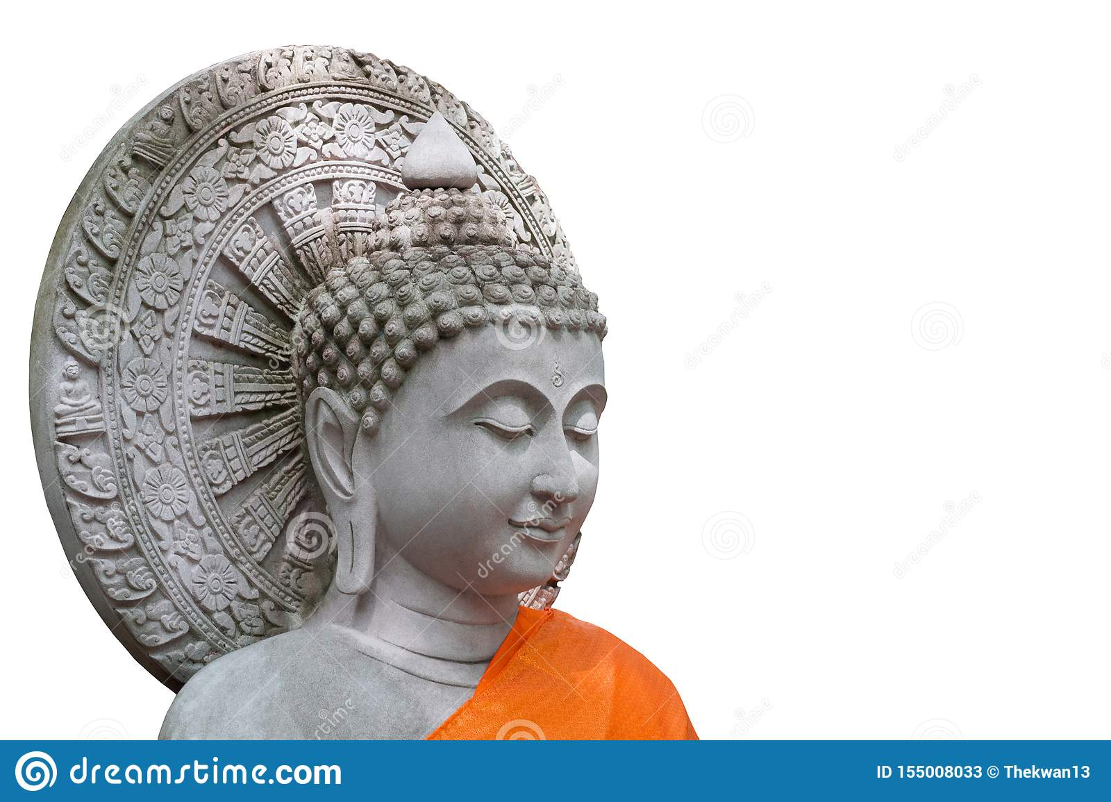 The White Stone Buddha white background with clipping path
