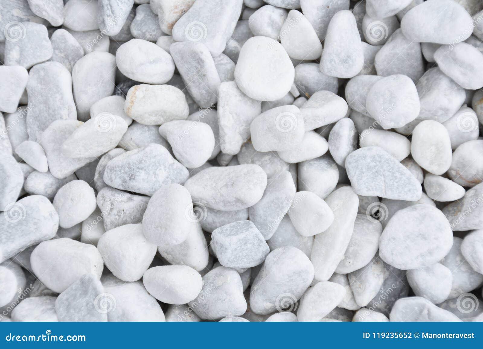 Close Up White Garden Stones. Decorative Gravel.