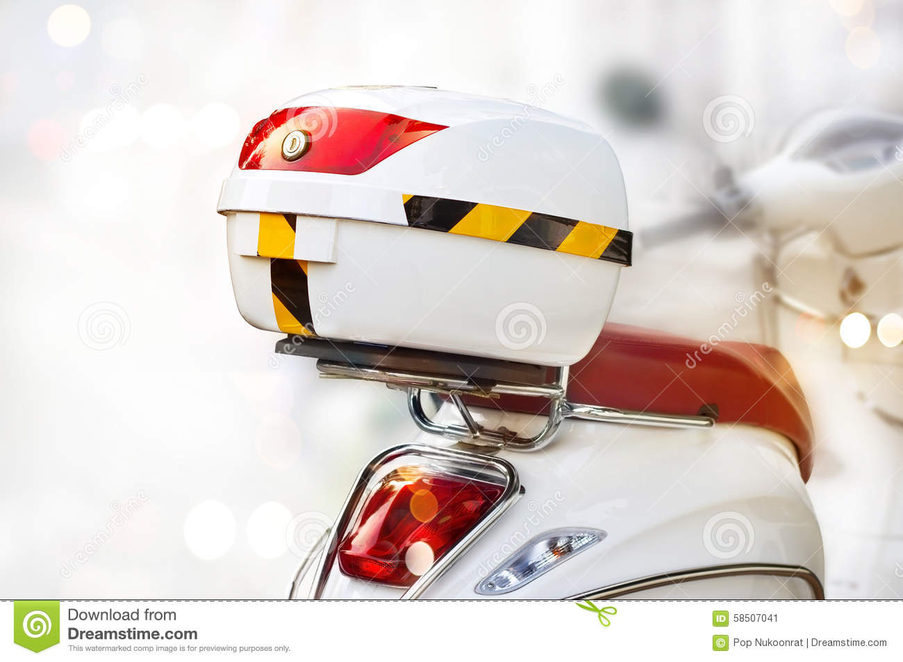 Download White Storage Box On Back Of Motorcycle On Street Stock Image    Image Of Object