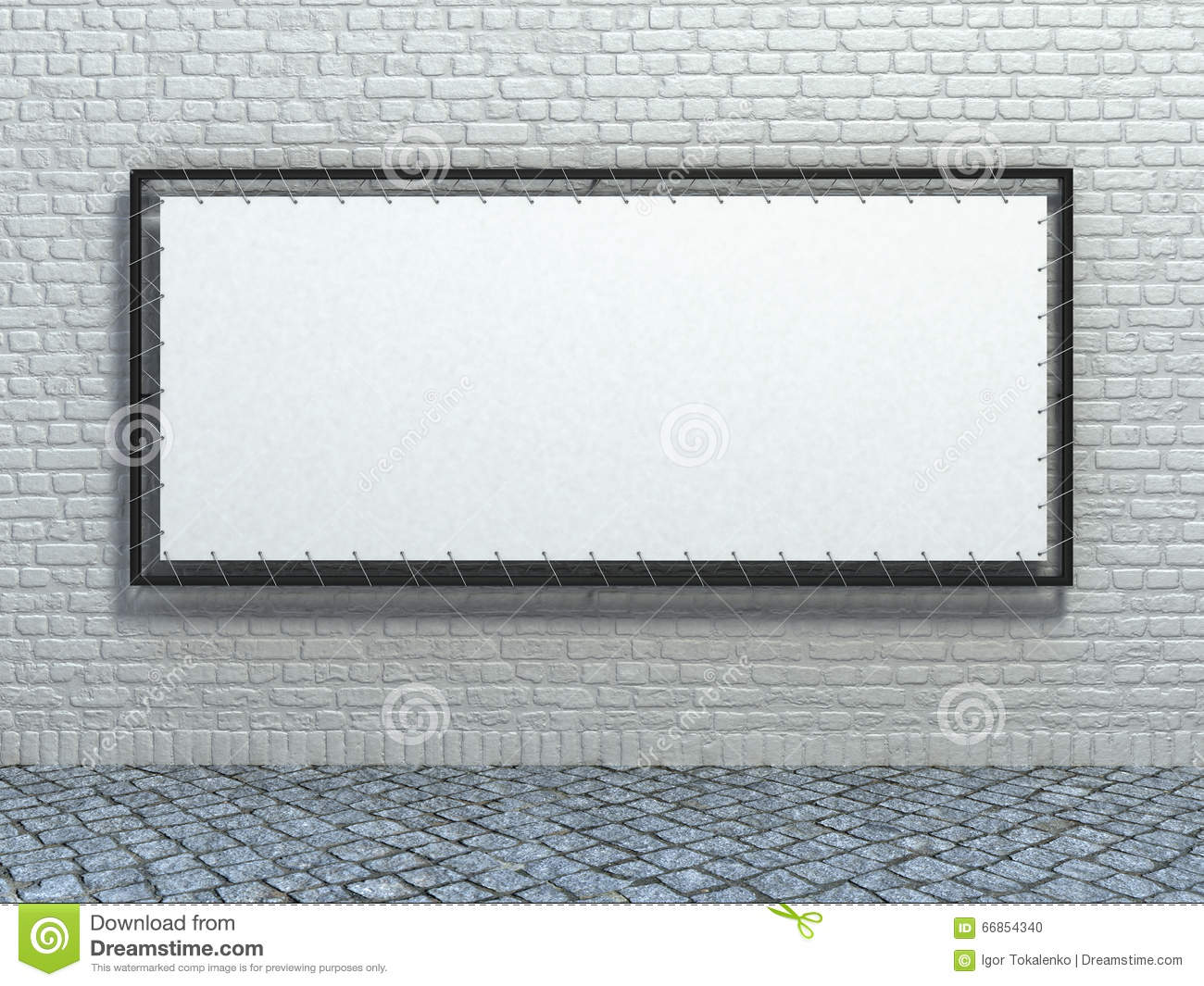 Background image stretch - White Stretch Banner On Brick Wall Background Stock Photo
