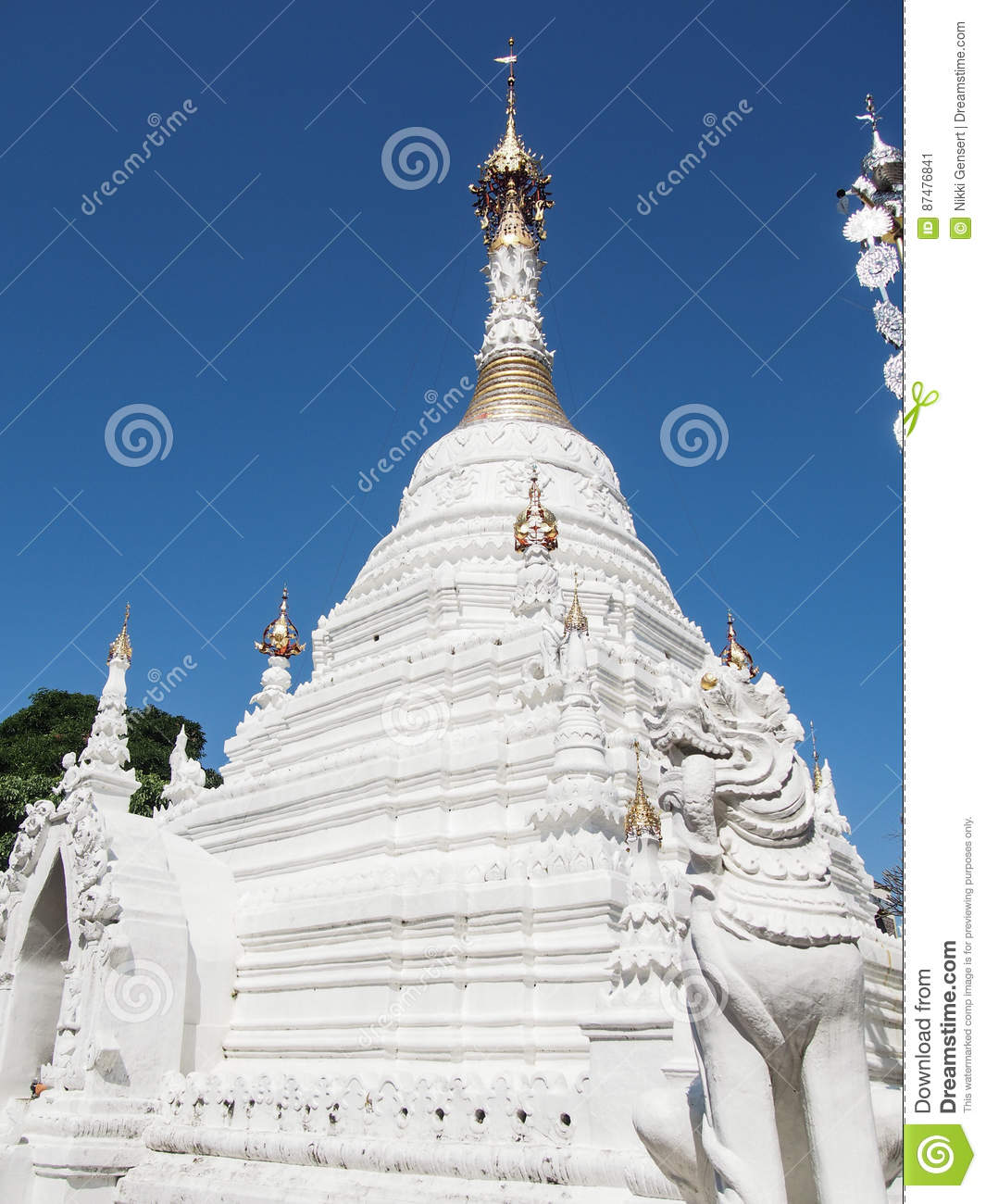 White Stupa at Temple in Chiang Mai Thailand