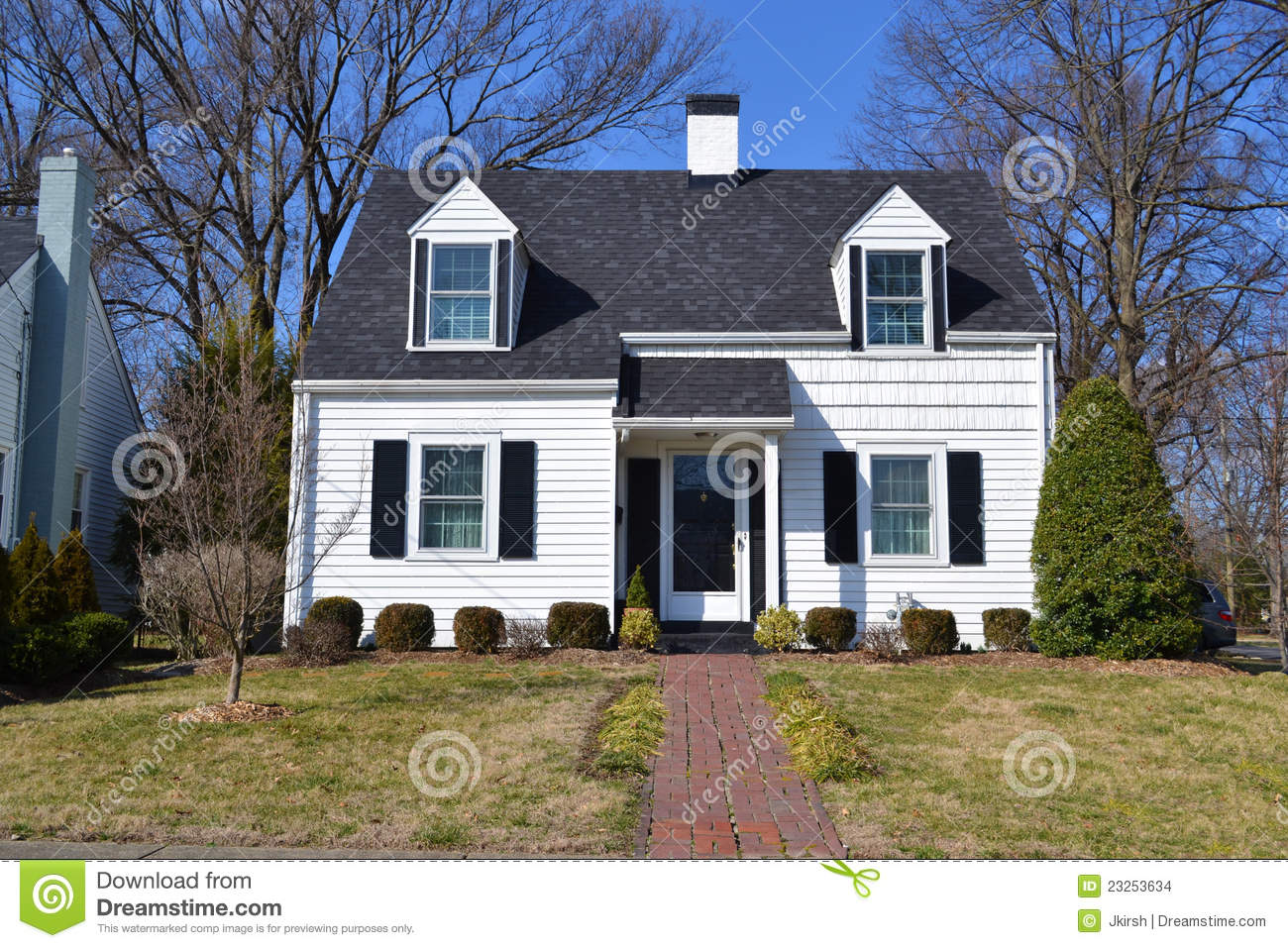 White Suburban Cottage Home Stock Images  Image: 23253634 - 2 Story House Plans With Wrap Around Porch