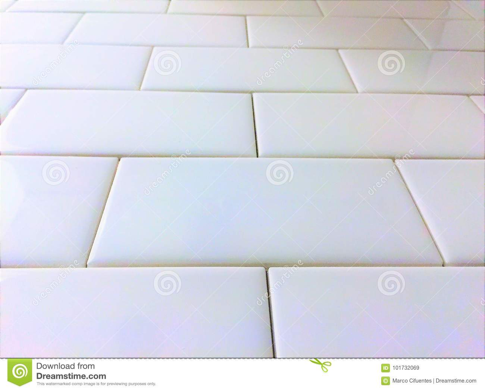 White Tile Backsplash Subway Pattern Stock Image - Image of shower ...