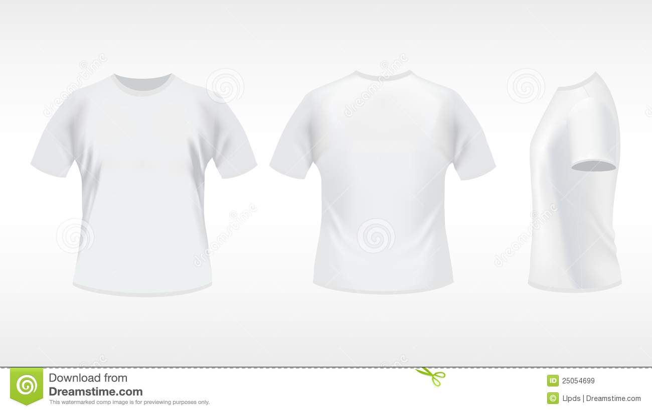 White t shirt stock vector image of casual active body for White t shirt template front and back