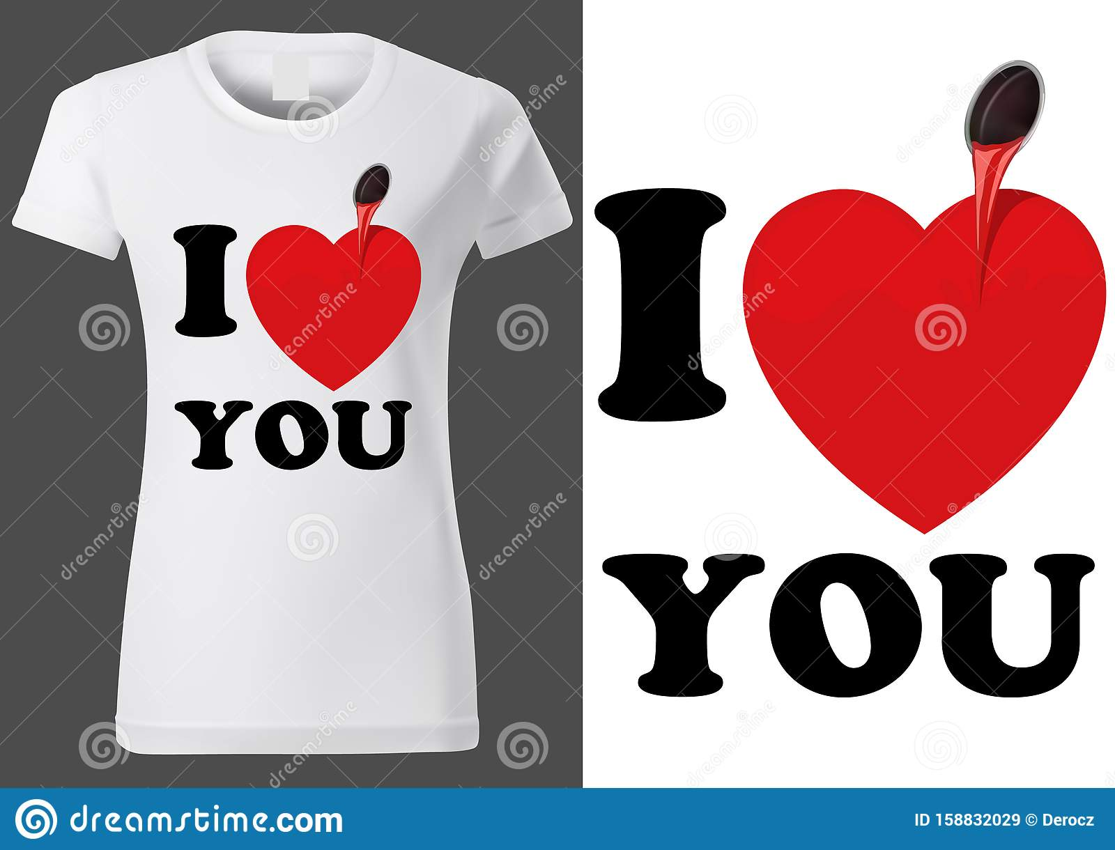 White T Shirt Design With Inscription I Love You Stock Vector Illustration Of Colored Design 158832029