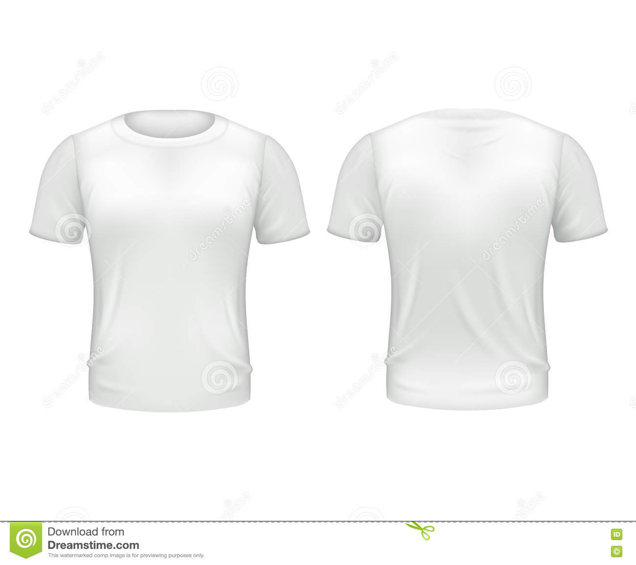 White T Shirt Front Back Template Realistic 3d Vector Illustration