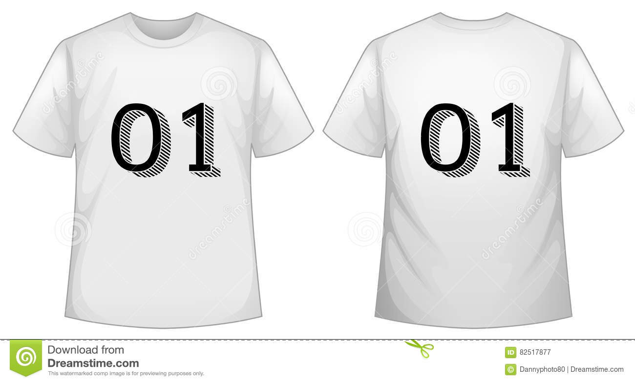 White T Shirt Template With Front And Back